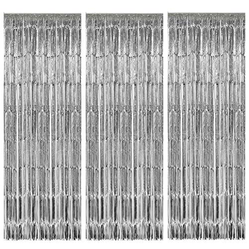 Geboor 3 Pack Metallic Tinsel Foil Fringe CurtainPhoto Booth Props Background Decoration Shimmer Curtain for Birthday Wedding Party Supplies (Silver) -