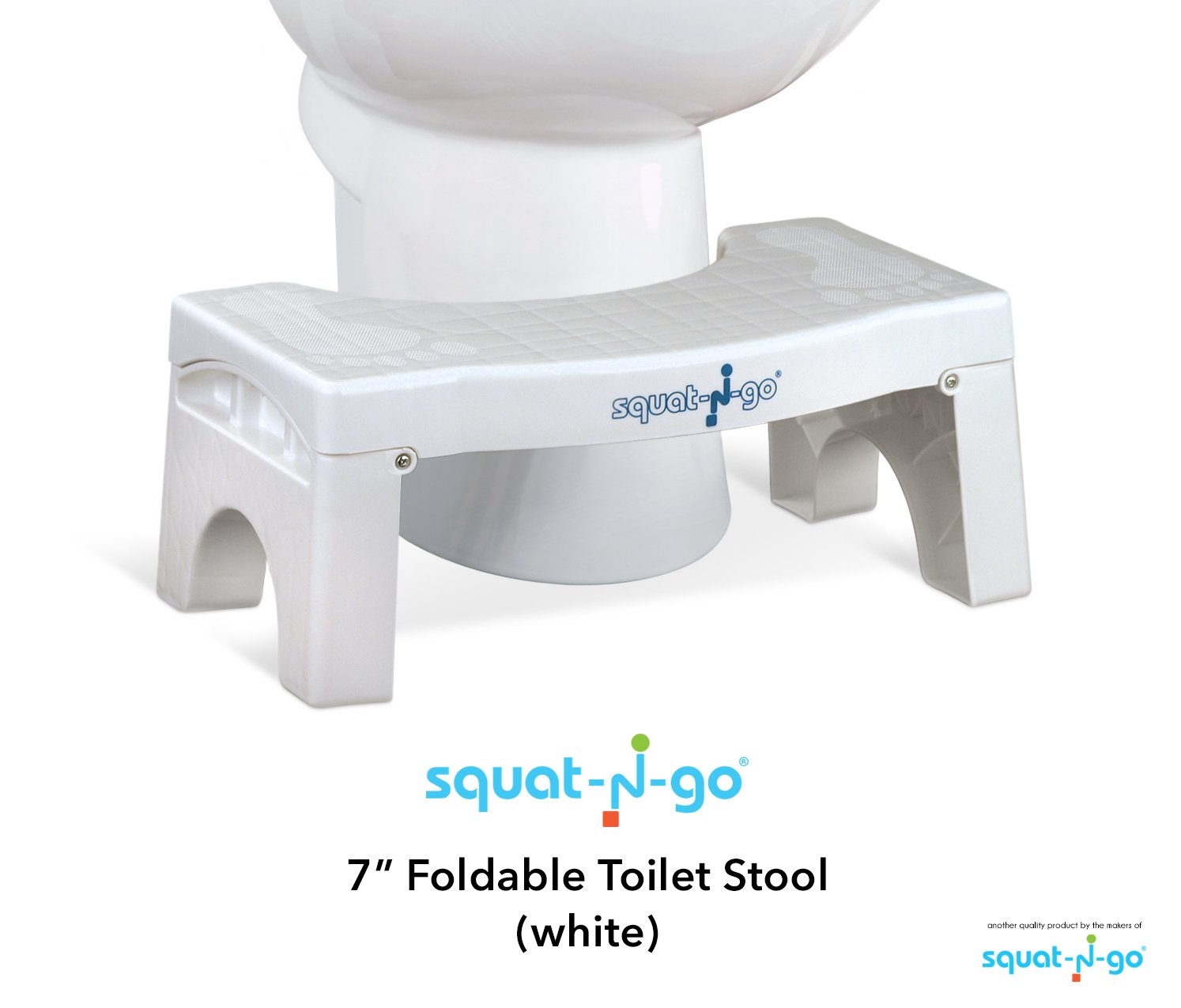 Squat N Go 7'' Folding Squatting Stool | The Only Foldable Toilet Stool | Convenient and Compact - Great for Travel | Fits All Toilets, Folds for Easy Storage, Use in Any Bathroom | White Color | by SQUAT-N-GO