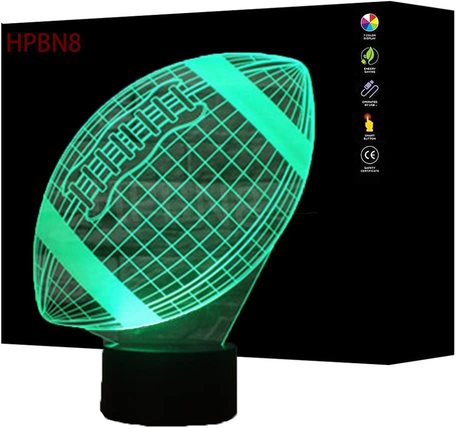 3D Rugby Lampe USB Power 7 Farben Amazing Optical Illusion 3D Wachsen LED Lampe Formen Kinder Schlafzimmer Nacht Licht