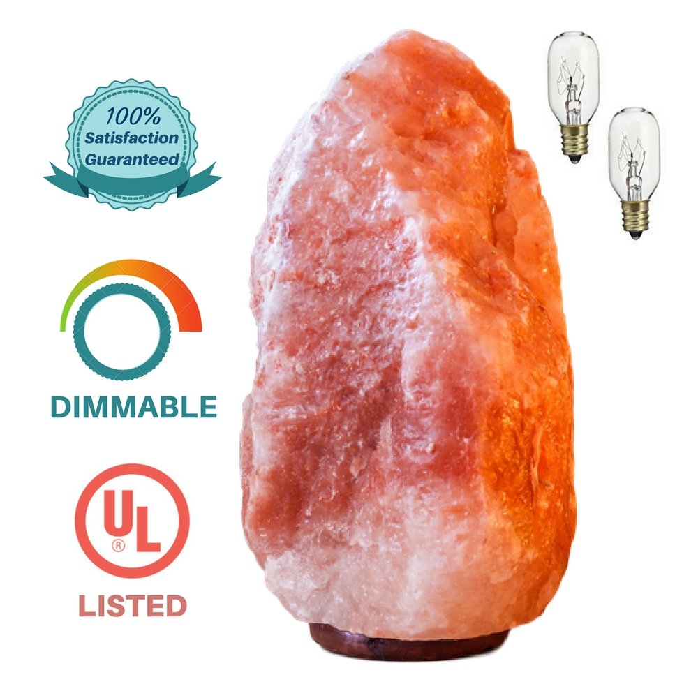 Authentic Himalayan Salt Lamp - Natural Pink Crystal Rock Natural Air Purifier with Negative Ion Glow Home Decor | Large 7-9 lbs,6-9'' Height | Safety UL Listed Dimmer Switch