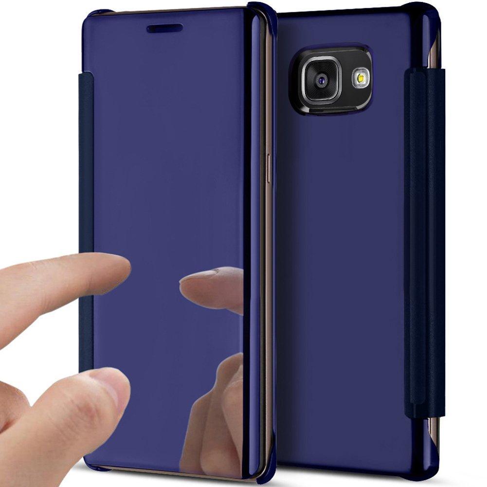 Etsue Handy Schutzhülle für Samsung Galaxy S7 Spiegel Hülle Handyhülle Leder Brieftasche Leder Case Ledertasche Lederhülle, Samsung Galaxy S7 Clear View Plating Glitzer Kristall Überzug Spiegel Durchsichtig Klapphülle Ult