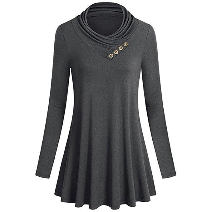 Manga Larga del Botón de Mujeres Camisetas Casual Tops Sueltos Blusa de Túnica ❤ Manadlian: Amazon.es: Ropa y accesorios