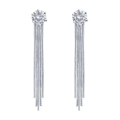 QUKE 925 Sterling Silver Cubic Zirconia Crystal Long Tassel Dangle Drop Earring Bridal Woman Jewellery ZFpMDVM3M