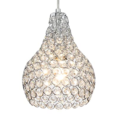 Popilion Ornate Chrome Crystal Ceiling Pendant Light,Adjustable Pendant Lighting with Crystal Lampshade for DinningRoom,Bedroom,Loft,Restaurant