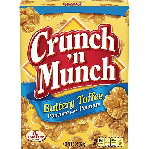 CRUNCH 'N MUNCH Buttery Toffee Popcorn with Peanuts, 6 oz. (Pack of 12)