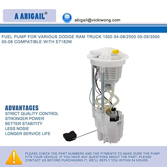 Amazon.com: Fuel Pump A7182M for various Dodge Ram truck 1500 04-08/2500 05-09/3500 05-08 compatible with E7182M: Automotive