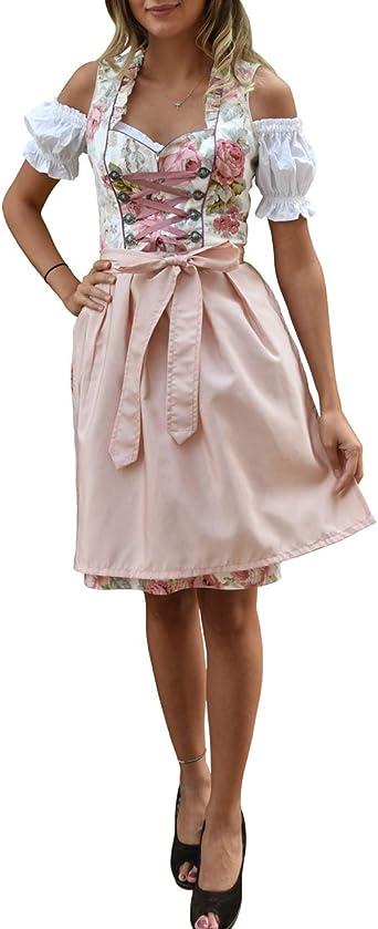 Damen Trachten Kleid rosa rot geblümt mit grün Gr 38
