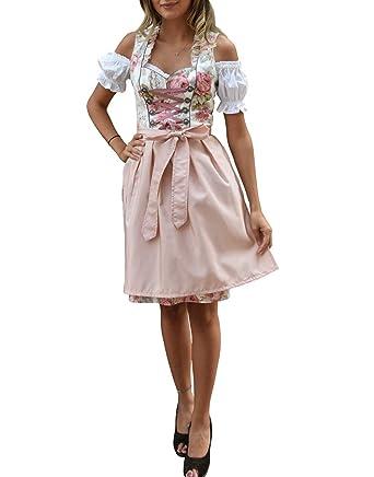 Golden Trachten Dirndl 3 TLG, Damen Midi Trachten-Kleid für Oktoberfest, Rosa Grün geblümt, 514GT