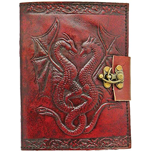 (Rayite LEATHER JOURNAL Dual Dragon Handmade Vintage Antique Genuine Diary Notebook Sketchbook Note Pad Gift for Men Women 7X5 Inches Brown)