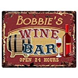 BOBBIE'S WINE BAR Tin Chic Sign Rustic Vintage style Retro Kitchen Bar Pub Coffee Shop Decor 9''x 12'' Metal Plate Sign Home Store man cave Decor Gift