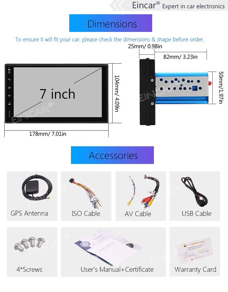 32Go Simple Din Voiture st/ér/éo avec 7 Pouces HD /écran Tactile pour Universal 1 V/éhicules Din Dash Navigation GPS Headunit WiFi Support EINCAR Android 9.0 CPU 6 de Base 4G 4G DVR//Dab//Commande a