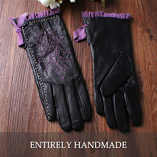Nappaglo Women's Genuine Nappa Leather Gloves Perforated Winter Warm Short Gloves with Purple Lace (S (Palm Girth:6.5''-7''), Black (Non-Touchscreen)) by Nappaglo (Image #6)