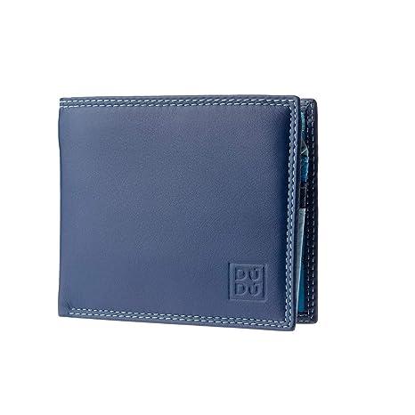 b940817f14 Portafoglio piccolo da uomo in pelle con portamonete di DUDU Blu ...