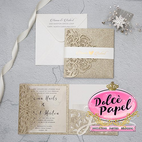25 Gorgeous Gold Glitter Laser Cut Wrap Intricate Lace Pocket Elegant Invitations Set by Dolce Papel Invitations