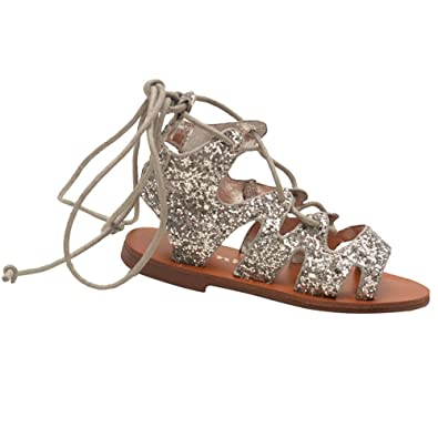 b62b0424027d Link Products Little Girls Silver Glitter Lace Up Multi Strap Gladiator  Sandals 10 Toddler