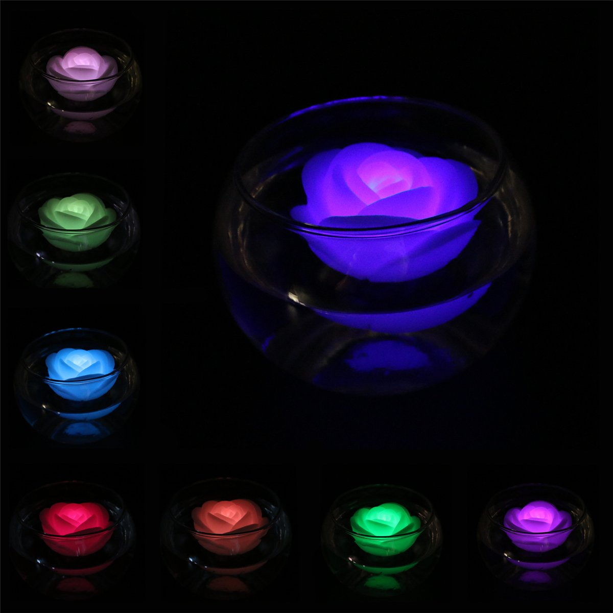 Rose-shape Wax Waterproof Floating Candles Tealight Night Light Flameless Candle with Battery-powered for Wedding Party Decoration ARDUX LED Floating Candles Pack of 4, Multicolor
