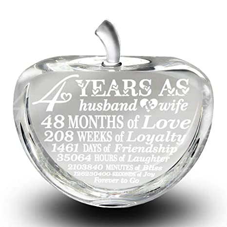 Bella Busta 4 Years Anniversary Traditional Fruit Gift For 4th Anniversary Engraved Crystal Apple Crystal Apple