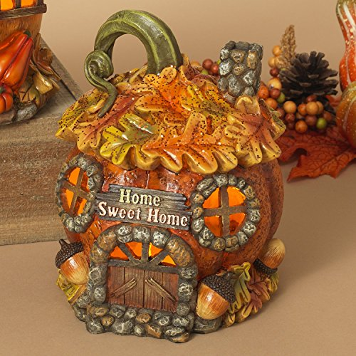 One Holiday Way LED Lighted Harvest Gnome Homes Fairy House Figurines - Tabletop Fall Decorations (Harvest Pumpkin Garden)