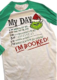 5ba4d5f23 Top Take Women Christmas Grinch Letters Print Funny I'm Booked Baseball T- Shirt