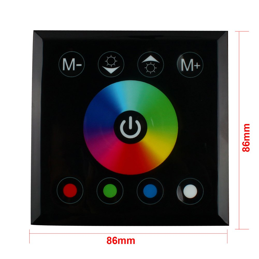 RGBZONE RGB LED Dimmer Wall Switch,Wall- mounted Plastic Cover Touch