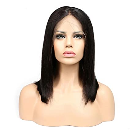 Fashion Lady hombro longitud negro recto frontal encaje las mujeres fiesta diaria peluca Amesii