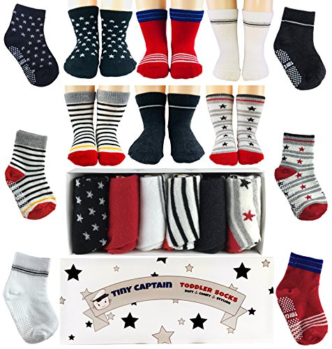 Toddler Baby Boy Socks Best Gift For 1 3 Year Old Boys Gifts Non Skid Grip Socks Gift Set By Tiny Captain  Red And Black