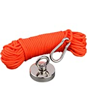 Mutuactor Fishing Magnets 350lbs Pull Force,Strong Retrieval Magnet N52 Neodymium Magnets with 20m(64 Foot) Durable Rope,Powerful Magnets for Fishing and Magnetic Recovery Salvage