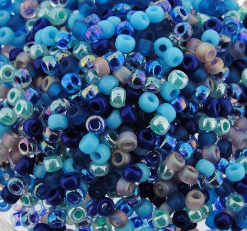 Miyuki Round Seed Beads Size 8/0 22g Carribean Blue Mix