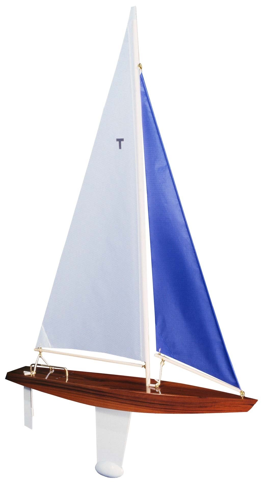 T Class Racing Sloop Finished (White/blue) - Floating Model Sailboat, Toy Sailboats that Sail, Toy Sailboats that Float, Toy Sailboat Wood, Toy Sailboat Wooden - It Really Sails!