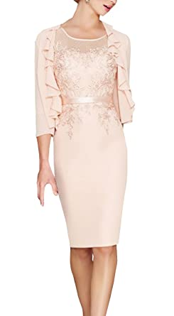 784acbb152d ShineGown Light Pink Round Collar Knee Length Dress with 3 4 Sleeves Jacket for  Wedding Mother of The Bride Dress  Amazon.co.uk  Clothing