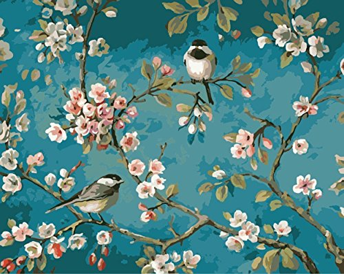 [Framless] Diy Oil Painting Paint by Number Kit for Adult Kids-Linen material-Like Birds In The Branches 16x20 Inch