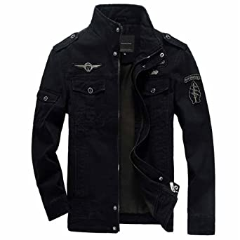 Amazon.com: HLDLR Winter New Bomber Jacket Men Military ...