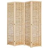 MyGift Decorative 4 Panel Wood & Bamboo Folding Room Divider Screen, Beige