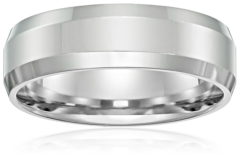 Men's 10k White Gold 6mm Comfort-Fit High Polished Wedding Band with Beveled Sides
