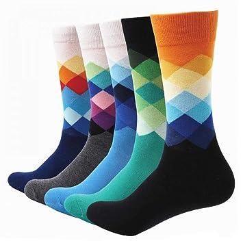 FHCGWZ 5pcs / Set Los Calcetines Coloridos de los Hombres de algodón de algodón Regalo de