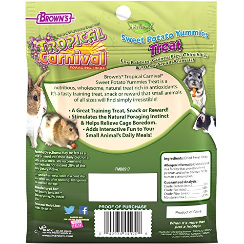 Product image of F.M. Brown'S Tropical Carnival Natural Sweet Potato Yummies With Vitamin C, 3.5-Oz Bag - Nutritious Treat For Rabbits, Guinea Pigs, Chinchillas And Other Small Animals