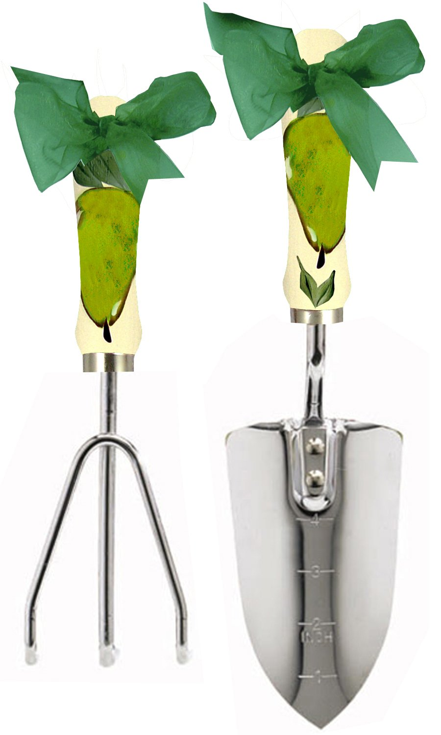 Cute Tools Stainless Steel Garden Shovel and Three Prong Rake - Landscaping Instrument, Hand Painted Wooden Handle In The USA, Durable Yard and Gardening Equipment From CuteTools! - Art For A Cause, Pear