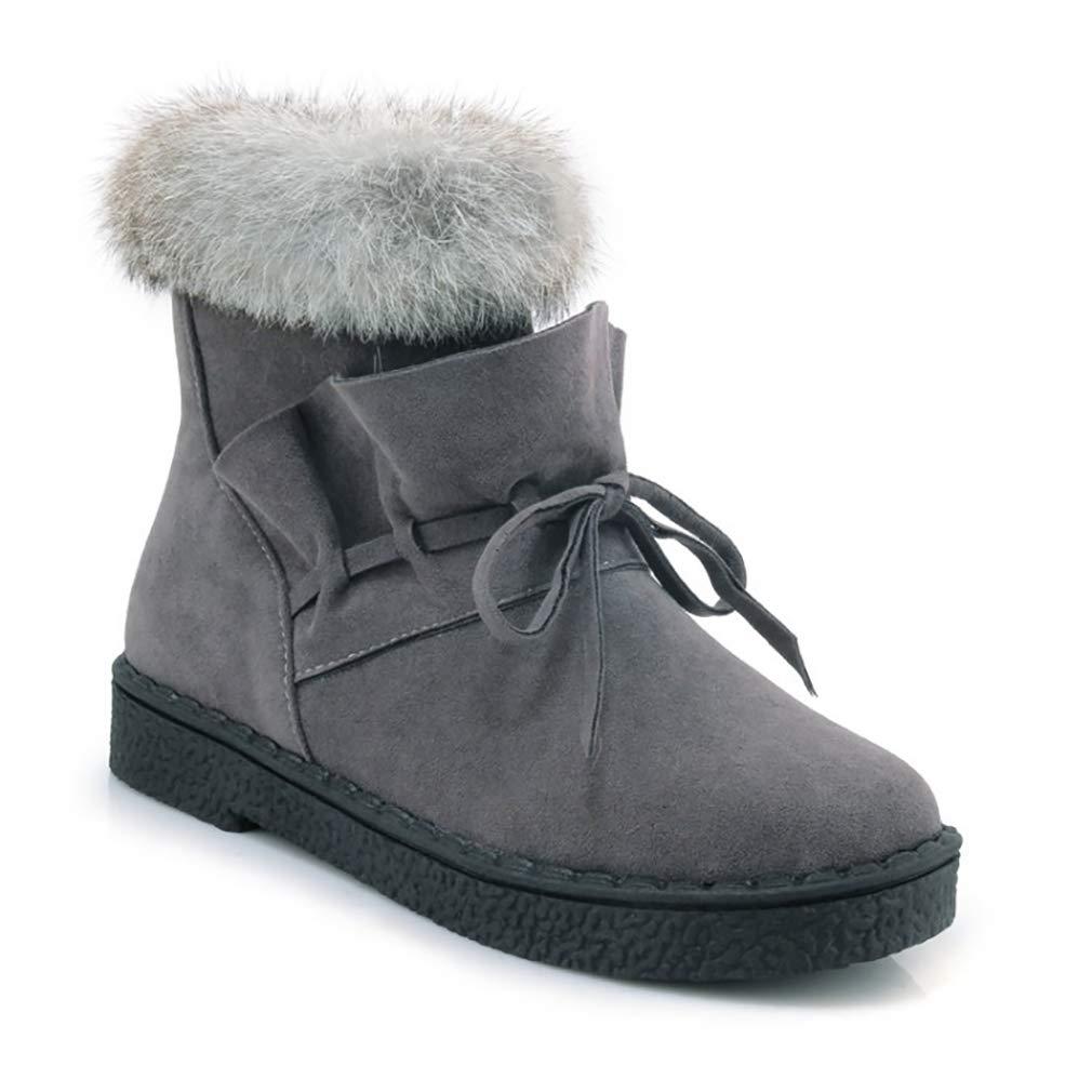 Hy Damen Stiefel Winter Winter Winter Wildleder Plus Kaschmir Warm Winddicht Schnee Stiefel Stiefel Student Slip-Ons Stiefelies Damen Snowboard Outdoor-Übung Snowsports Winter Stiefel (Farbe   Grau Größe   32) 072754