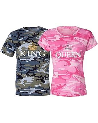 Minetom Couple Partenaire Camouflage T-Shirt Couronne Lettre Imprimé King    Queen pour Homme Femme Col Rond Manches Longues Sweatshirt Tops  Amazon.fr   ... ce0c9d8000b6