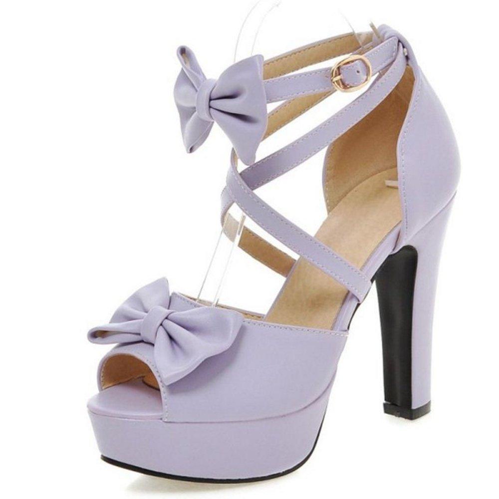 Onewus Damen Süß Sandalen mit Blockabsatz Bogen Cross Strap Peep Toe Schuhe Violett