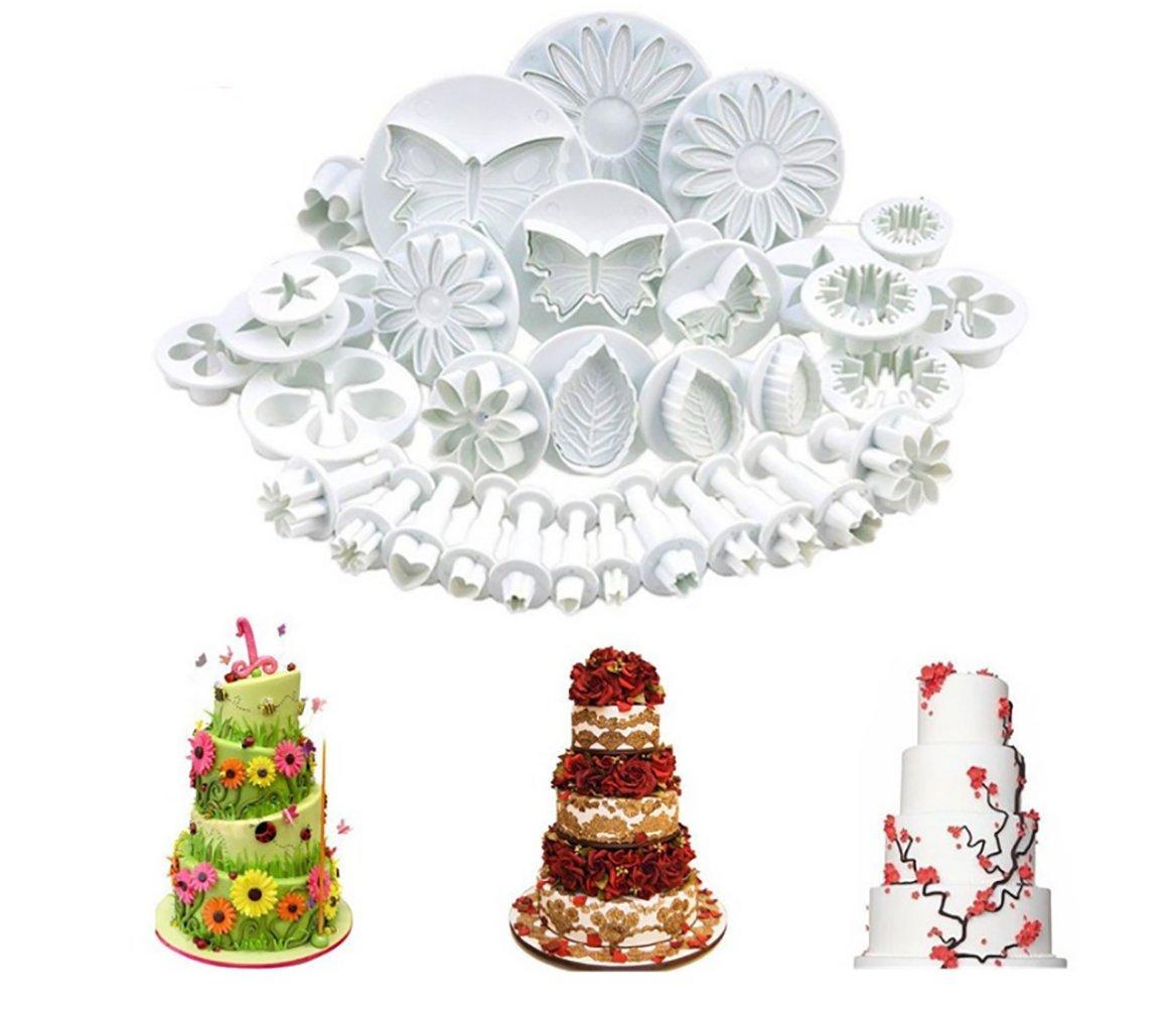 NANHONG 33Pcs/Set Cake Mould Set,Baking Set Cake Decorating Tools Flower Moulds Set, Star and Heart Shape Baking Set
