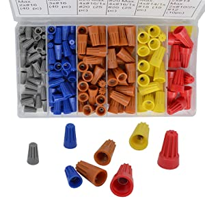 158PCS Wire Connector Screw Terminal, Spring Insert Torsion nut Cap Connection Classification kit Terminal Block with nut Cable Connector Ideal for Home Cable, Electrical Connection