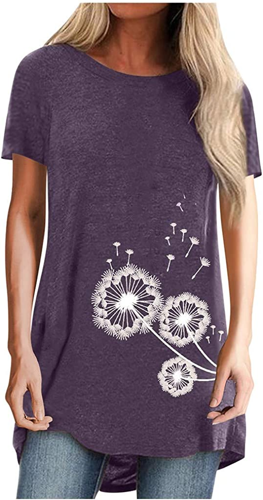 Tunic Tops for Leggings for Women Plus Size Long Sleeve Crew Neck Dandelion Printed Casual Pullover Tops Blouse