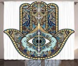 Ambesonne Hamsa Curtains, Hand of Fatima Religious Sign with All Seeing Eye Vintage Bohemian Zentangle Artwork, Living Room Bedroom Window Drapes 2 Panel Set, 108W X 63L inches, Multicolor Review