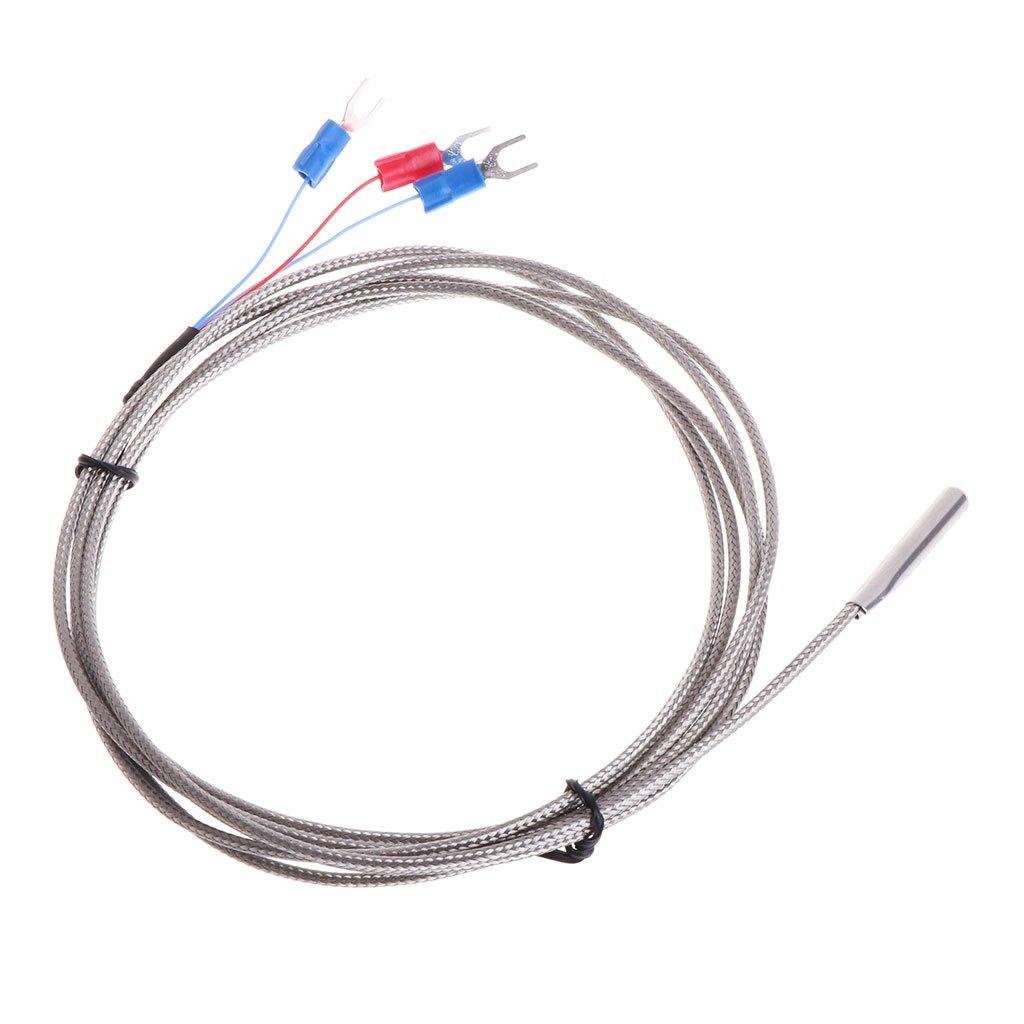 Rongzou Thermocouple de temp/érature en acier inoxydable RTD PT100 avec 2 m 3 fils de c/âble dalimentation