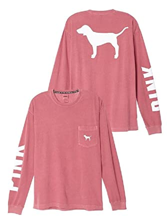 Victoria's Secret PINK Campus Long Sleeve Dog Logo Tee Shirt Large ...