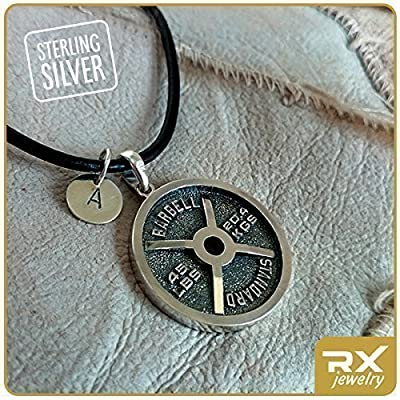 Bodybuilding Necklace with Initial Charm Pendant for Powerlifting and Bodybuilding Athelets Weight Plate Sport Jewelry