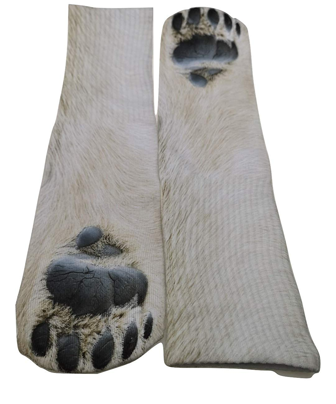 Amazon.com: North Wolf - Polar Bear Fun Crew Socks for Women or Mens Animal Paw Print Tube Sock visible on Ladies Dress and Men Boot: Clothing