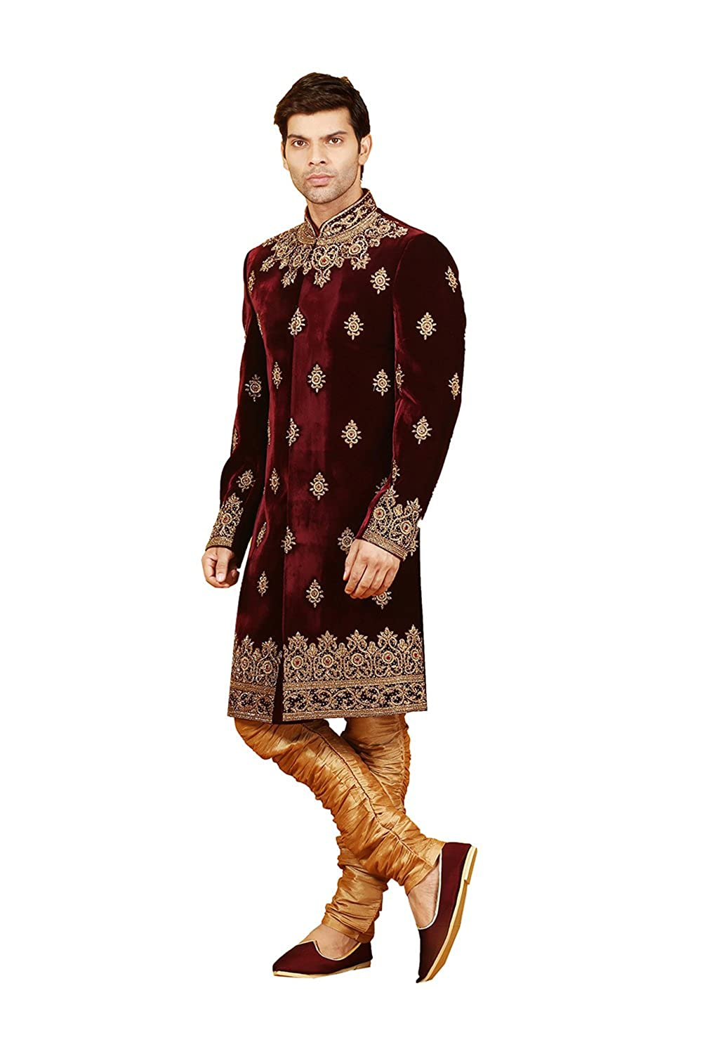 59b281f2e10 Indian Fashion Mens Indo Western Wedding Wine Designer Partywear  Traditional R-25423 at Amazon Men s Clothing store