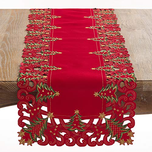Fennco Styles Pandora Collection Holiday Christmas Tree Tablecloth (Red, 16